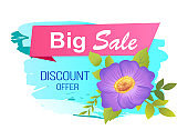 Big Sale Discount Label with Purple Flower Leaves