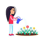 Pretty Little Girl Watering Flowers Blooming Buds