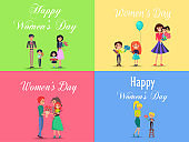 Concept of Happy Womens Day on Four Postcards