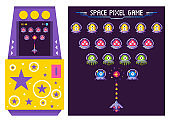 Arcade Game Machine with Alien Monsters Vector