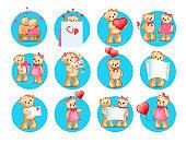 Loving Cartoon Bears Flat Vector Icons Set