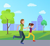 Mother Daughter Jogging Together City Park Vector
