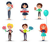 Children with Flowers and Gift Boxes Illustrations