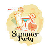 Summer Party Poster with Cocktails Invitation Card
