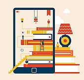 Electronic Book and Table Vector Illustration