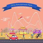 Dirty Amusement Park Poster Vector Illustration