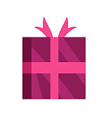 Wrapped Gift Glossy Wrapping Pink Paper with Bow