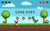 Hero Battle in Pixel Video Game