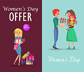Set of Offers and Congratulations on Womens Day