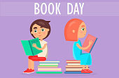 Kids Sits on Pile of Literature on Book Day Card