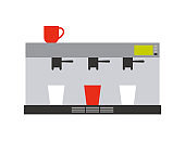 Coffee and Tea Machine for Making Drink Vector