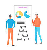 Man on Presentation, Business Seminar Whiteboard