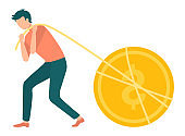 Golden Coin Man Pulling Dollar with Thread Vector