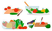 Set of Organic and Healthy Food Cooking Icons