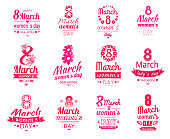 Happy 8 March Women Day Posters Set. Love Spring