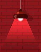 Chandelier and Red Brick Wall, Interior Vector