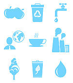 Set of Icons in Save Environment Concept. Vector