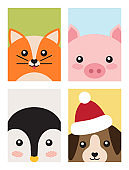 Cat and Pig Penguin and Dog Vector Illustration