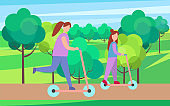 Mother and Child on Scooters in Park Illustration