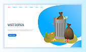 Pollution and Recycling, Garbage Bags Web Vector