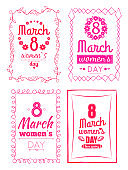 8 March Women s Day Collection Posters Invitation