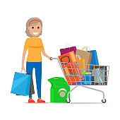 Woman with Shopping Trolley Make Purchases at Mall