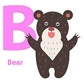 Alphabet for Children B Letter Bear Cartoon Icon