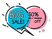 Geometric Bubble Shopping Discount and Sale Vector