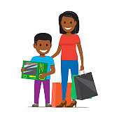 Family on Shopping Illustration. Mother and Son