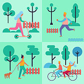 People Spending their Leisure Time Illustrations