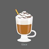 Irish Glass Mug with Coffee Glace Flat Vector