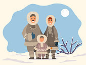 Arctic Family Standing on Snowy Landscape Vector