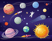Space and Planets Set Poster Vector Illustration