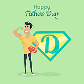 Happy Fathers Day Poster. Daddy Great Sportsman.