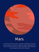 Red Mars Planet on Informative Poster with Text