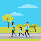 Cheerful Family in Autumn Park Colorful Banner
