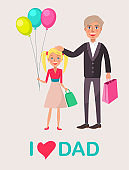 Father and Blonde Daughter Celebrate Dad's Day