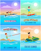 Summertime Banners Collection Vector Illustration