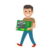 Boy with Green Box Illustration. Shopping Time