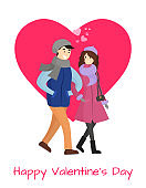 Happy Valentines Day Poster Young Couple in Winter