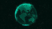 3D Digital Earth shows concept of global network