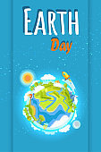 Earth Day Holiday Poster with Planet Illustration