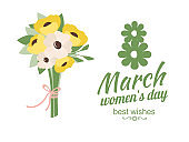 Womens Holiday, Best Wishes with Daisies Vector