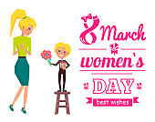 March 8 Womens Day Best Wishes Vector Illustration