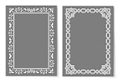 Collection Frames Silver Color Isolated on Grey