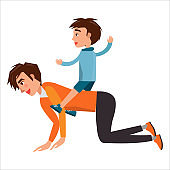 Little Boy Riding on his Father's Back Isolated