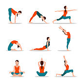 Yoga Collection of Poses, Vector Illustration
