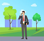 Businessman Talking on Phone in City Park Vector