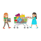 Two Little Girls out on Shopping at Supermarket