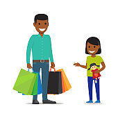 Family on Shopping. Father and Daughter Characters
